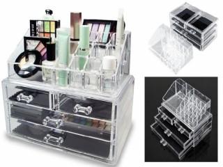 صندوق شفاف منظم بادراج حفظ المكياج و الاكسسوار و المجوهرات تنظيم الحلي ومستحضرات التجميل